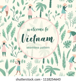 Vector seamless pattern with landscape and Vietnamese people. Travel to Vietnam.