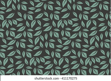 Vector seamless pattern with leaf. Green and black background