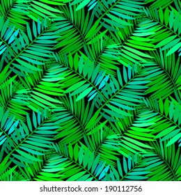 Vector seamless pattern with leafs inspired by tropical nature and plants like palm trees and ferns in multiple green colors and black