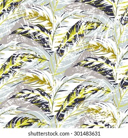 Vector seamless pattern with leafs inspired by autumn nature and plants like palm trees and ferns in cool organic colors for fall winter fashion. Colorful floral texture and background