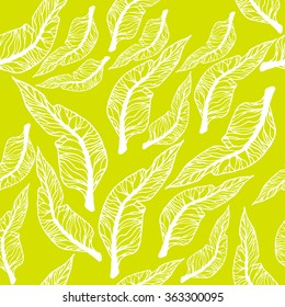 Vector seamless pattern with leaves. Abstract stylish background with stylized petals