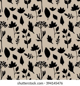 VECTOR seamless pattern leaves and spring flowers