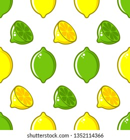 Vector seamless pattern with lemon and lime illustrations