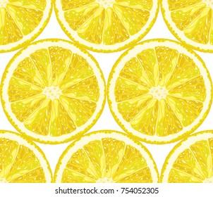 Vector seamless pattern from lemon slices. Citrus background