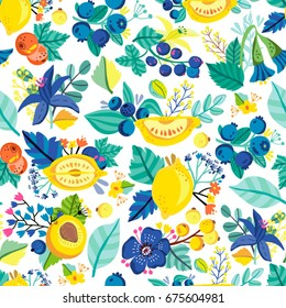 Vector seamless pattern of lemons, flowers and leaves in amazing fashionable colors.