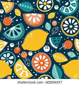 Vector seamless pattern, lemons and lemonade
