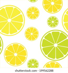 Vector seamless pattern with lemons white background