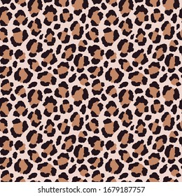 Vector seamless pattern with leopard print. Animal print. Cheetah print. Natural safari background.