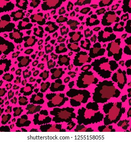 Vector Seamless pattern of leopard skin on pink background, Wild Animals pattern in pink tone for textile or wall paper