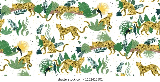 Vector seamless pattern of leopards in jungle. Summer tropical illustration. Pattern illustration of cartoon character leopard, toucan and jungle leaves for kids.