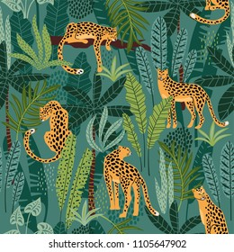 Vector seamless pattern with leopards and tropical leaves. Trendy style.