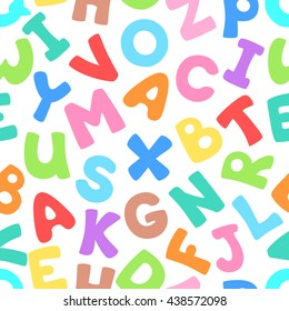 Vector seamless pattern with letters. Lovely background for kids