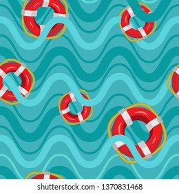 Vector seamless pattern of lifebuoys and waves. Pattern on blue backdrop. Vacation concept.