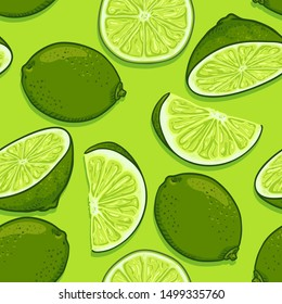 Vector Seamless Pattern of Limes on Green Background