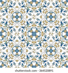 Vector seamless pattern with line art ornament. Ornate floral decor for wallpaper.