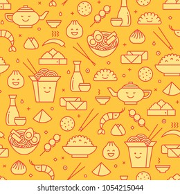 Vector seamless pattern with line icons of Chinese food. Traditional take away boxes, noodles, dim sum, ramen and spring rolls.  Smiling faces kawaii.