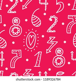 Vector seamless pattern with line numbers. Seamless pattern can be used for wallpaper, pattern fills, web page background, surface textures.