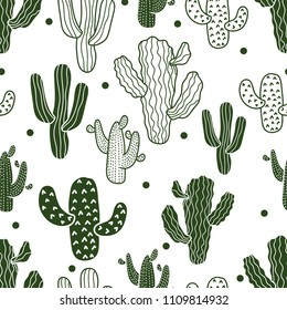 Vector seamless pattern with line and silhouette cactus.