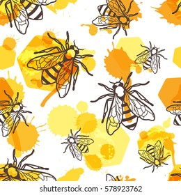 Vector seamless pattern with linear bee, liquid honey and watercolor honeycombs. Organic honey background. Concept for honey package design, label, wrapping, prints.