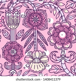vector seamless pattern with linear folk flowers on a rose background