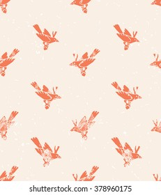 Vector seamless pattern. linecut style with birds. Vintage background.