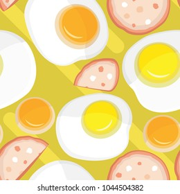 Vector seamless pattern. Little fried eggs and sausage on a yellow abstract background