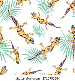 vector seamless pattern with lizards on a white background .vector pattern with lizards