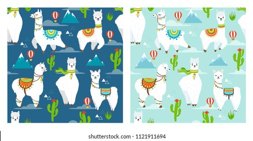 Vector seamless pattern with llama, alpaca, cactus, mountain and ballon. Childish print for fabric, case, textile, wallpaper. Vector Illustration. Trendy cartoon llama in flat style.