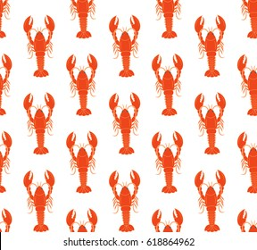 vector seamless pattern with lobsters on isolated background