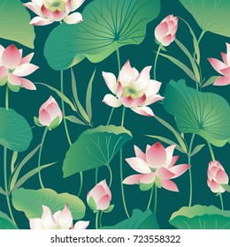Vector seamless pattern lotus flowers and leaves. Watercolor.