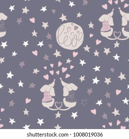 Vector seamless pattern. Love. Hearts. Dachshund. Valentine's Day. Perfect for greetings, invitations, manufacture wrapping paper, textile and web design.