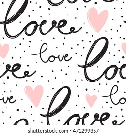 Vector seamless pattern with LOVE lettering.