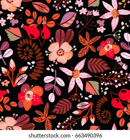 Vector seamless pattern of lovely stylish flowers.