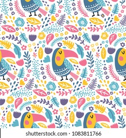 vector seamless pattern, lovely toucan birds and exotic flowers on white background