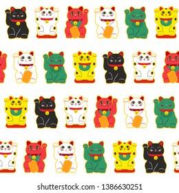 Vector seamless pattern of Lucky Cat Maneki Neko.