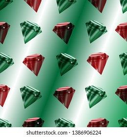 Vector seamless pattern with luxury emeralds and rubins.