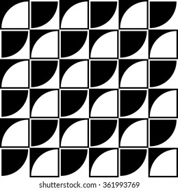 Vector seamless pattern made up of alternating light and dark elements .Black and white squares and circle sectors.