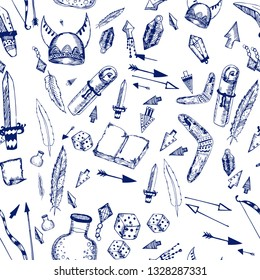 vector seamless pattern made with LARP elements isolated on white. printed goods.