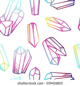 Vector seamless pattern with magic crystals. Fantasy print of mineral stones.