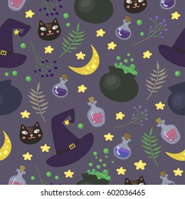 Vector seamless pattern with magic items in cartoon style. Perfect for post cards, prints for Halloween.
