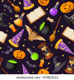 Vector seamless pattern with magical symbols: books, cauldrons, hourglass, owls, jack-o-lanterns, bats, brooms, flasks, wizards and witches hats and stars.