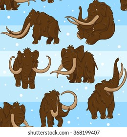 Vector seamless pattern with mammoths in ice age