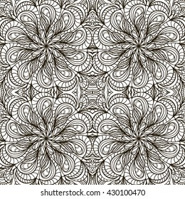 Vector seamless pattern of the mandala . Black and white ornament