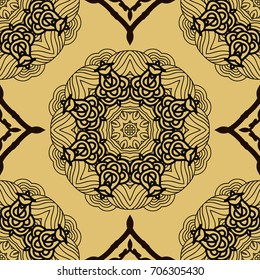 Vector seamless pattern mandala print.Vintage decorative elements. Unique  asian background.Arabic, nepali,Indian, ottoman, tibetan motifs.Gold and black. Vector illustration.