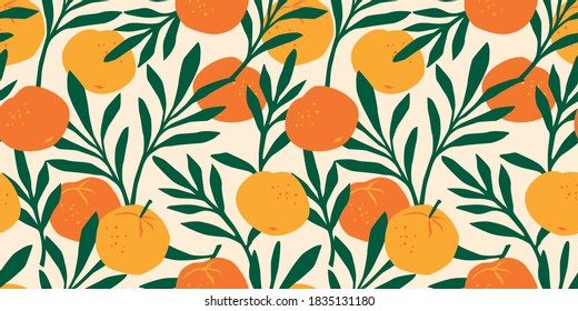 Vector seamless pattern with mandarins. Trendy hand drawn textures. Modern abstract design for paper, cover, fabric, interior decor and other users.