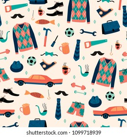 Vector seamless pattern with mans things. Happy Fathers Day concept. Design template.