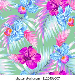 Vector seamless pattern with many beautiful flowers: orchids, hibiscus, heliconia and palms. Soft pastel colors.