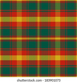 vector seamless pattern Maple Leaf Canadian tartan with four colours of the maple leaf