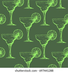 vector seamless pattern with margarita cocktails