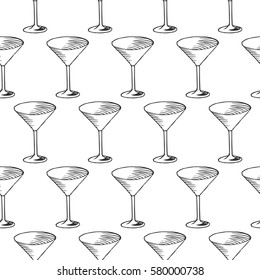 vector seamless pattern with martini glass